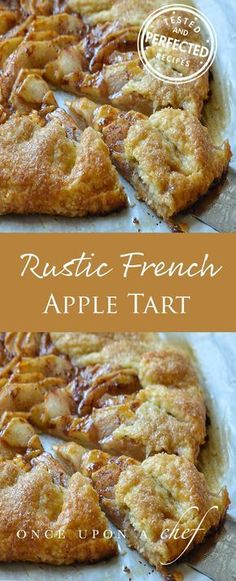Apple Tart Rustic French Apple Tart - looks fairly simple and I wouldn't have to mess with getting the crust into a pie plate (yay!)Rustic French Apple Tart - looks fairly simple and I wouldn't have to mess with getting the crust into a pie plate (yay! Just Desserts, Delicious Desserts, Yummy Food, French Dessert Recipes, French Snacks, French Cooking Recipes, Healthy Apple Desserts, Health Desserts, Yummy Snacks