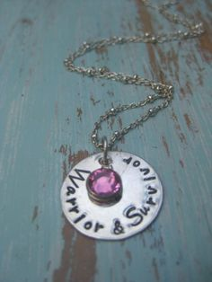 LAST ONE - SALE  - Ready to Ship - Warrior and Survivor - Cancer Survivor  - Sterling Silver Disc Necklace -  TakeFlightBoutique on Etsy