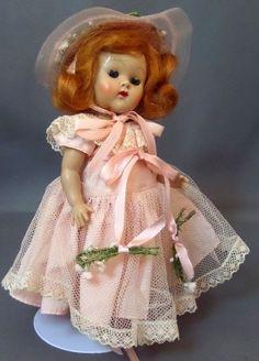 Vintage Vogue Ginny 1953 PL strung doll #56 pink Bridesmaid Fable & Bride series