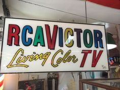 "Vintage Rca Victor Living Color TV Acrylic Large Sign 52"" X 26"" #RCA"