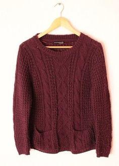 Kup mój przedmiot na #vintedpl http://www.vinted.pl/damska-odziez/bluzy-i-swetry-inne/12605281-sweter-atmosphere-fioletowy-bordowy-warkocz-sm