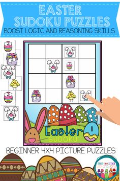 Sudoku Puzzles for Kids Sudoku Puzzles, Puzzles For Kids, Phonics Activities, Math Games, Math Center Rotations, Easter Activities For Kids, Math Talk, Spring School, Picture Puzzles
