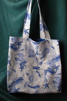 Blue & White Seashells lined Tote Bag/Large by TurtleFishCreations on Etsy
