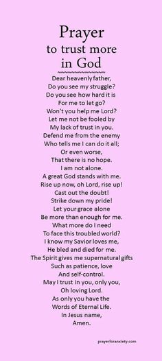 Prayer to trust in God