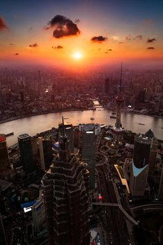 Shanghai, China Sunset | by Yuhan Liao.