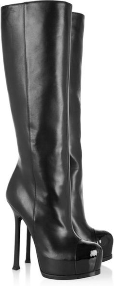 YVES SAINT LAURENTTribtoo Leather and Patent Knee Boots