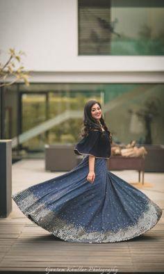 Light Lehengas - Midnight Blue RIdhi Mehra Lehenga with Silver Sequence and a Dark Bue Cape | WedMeGood  #wedmegood #indianbride #indianwedding #bridal #lehenga #lightlehenga #receptionlehenga #sequinned