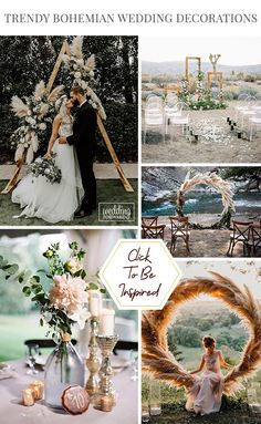 Trendy Bohemian Wedding Decorations ❤ We have collected brilliant bohemian wedding decorations ideas for bright celebration! Check yorself and pick your favourite style. Bohemian Wedding Reception, Bohemian Wedding Decorations, Bridal Decorations, Wedding Altars, Elope Wedding, Boho Wedding Dress, Wedding Signs, Wedding Centerpieces, Wedding Ceremony