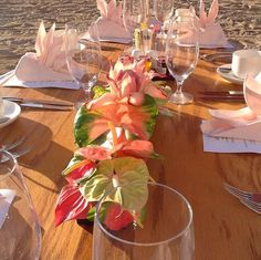 A simple lunch on the Beach with beautiful Red, Pink, and Green Anthurium.