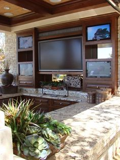 Outdoor Tv Home Design Ideas, Pictures, Remodel and Decor Outdoor Rooms, Outdoor Living, Outdoor Kitchens, Outdoor Life, Porches, Backyard Sports, Backyard Bar, Patio Bar, Living Pool
