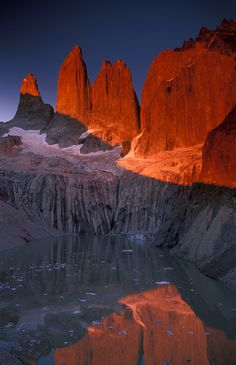 #Patagonia, A beautiful sunrise from the base of las Torres del Paine http://www.ecocamp.travel/Tours/Patagonia-Torres-del-Paine-W-Trek