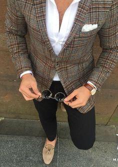 clothes for men casual Blazer En Tweed, Stylish Men, Men Casual, Herren Outfit, Blazer Outfits, Mens Fashion Suits, Fashion Shirts, Fashion Outfits, Well Dressed Men