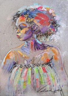 ANTILLAISE 2 - Peinture,  50x70 cm ©2011 par Raluca Vulcan -