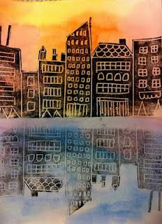 Love these city scape prints! Warm and cool watercolor background for sunset and water. Draw on foam then CUT out buildings! First print on warm, second ghost print for reflection.
