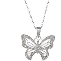 Malin + Mila Sterling Silver 1/4ct TDW Diamond Butterfly Necklace ($38) ❤ liked on Polyvore featuring jewelry, necklaces, white, sterling silver chain necklace, vintage pendant necklace, butterfly pendant necklace, long pendant necklaces and diamond chain necklace