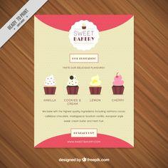 カップケーキの種類に甘いパン屋さんのチラシ 無料ベクター