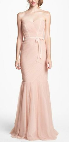 Strapless blush long gown in tulle