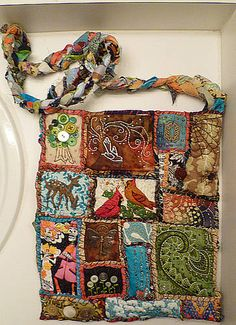 These Teesha Moore inspired bags are awesome!  I am making one now!  What else could I do with them?  Bible/book covers, cuffs, pins, small coin purses....hmmm.