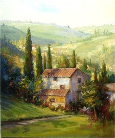 """Siena Country Villa"" Alex Perez Chilean Impressionist 18 Ara a Watercolor Architecture, Watercolor Landscape, Landscape Art, Landscape Paintings, Watercolor Paintings, Watercolors, Cottage Art, Impressionism Art, Pictures To Paint"