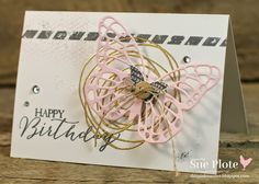 Love the gold swirl behind the butterfly on this one. Stamps used are Snuggles and Smooches and Butterfly Basics.