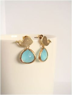 Gold whale and mint glass earrings - Everyday jewelry - Minimalist jewelry. $16.00, via Etsy.