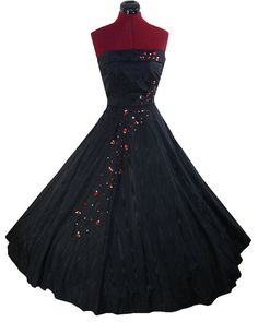Vintage Dress 50s Black TAFFETA Full Skirt Prom by pinupdresses, $200.00