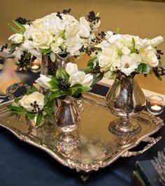 Silver Service Entry!  White Wedding Kathleen Landwehrle Photography