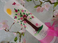 Taufkerze Kommunionkerze Kerze zur Taufe Kommunion Lebensbaum für Mädchen NEU