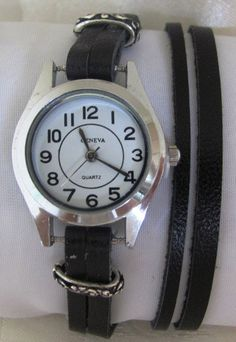 This unique silver watch is made with a real, high quality black leather band. Unique watch with a lovely pattern and can be a perfect gift for you and for your family and friends.  Adjustable, 2 snap, black leather Wrap Bracelet Watch. wraps around your wrist 2 times and easily snaps in the back. You can wear it tight or as a loose fitting bracelet.