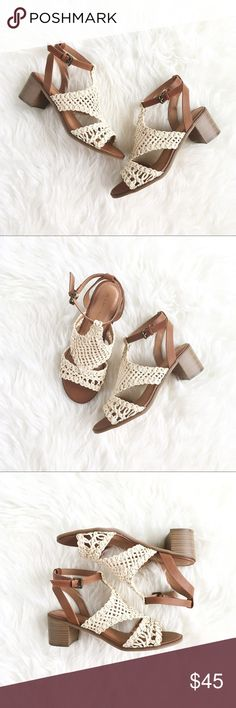 "Rampage ""DeAnn"" Cream Crochet Heeled Sandals, 7.5 This whimsical heeled sandals are simply gorgeous, with their cream-colored diagonal crochet face and chocolate brown vegan leather body, built for stylish comfort with padded insoles and a sensible mid-heel. Lovely for spring florals, lively for summer festivals, and longing for fall travels. Size 7.5, measures approx 27.5cm toe to heel, 9cm across width of ball, 2"" heel. Brand new, NWT.  Please feel free to make an offer, bundle for greater…"