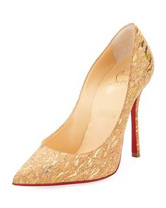 Decoltish+Metallic+Cork+Red+Sole+Pump,+Multi+by+Christian+Louboutin+at+Neiman+Marcus.
