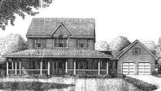 Country House Plan with 2489 Square Feet and 4 Bedrooms from Dream Home Source | House Plan Code DHSW73950 Victorian House Plans, Victorian Homes, 2 Story Houses, Country Style House Plans, Farmhouse Style, Bathroom Plans, Historic Homes, Garage House, House Floor Plans