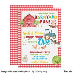 Shop Barnyard Birthday Party Cute Farm Animals Invitation created by LollipopParty. Personalize it with photos & text or purchase as is! Baby Boy 1st Birthday Party, Farm Animal Birthday, 1st Boy Birthday, Birthday Ideas, Birthday Animals, Happy Birthday, Farm Party Invitations, 1st Birthday Invitations, Invites