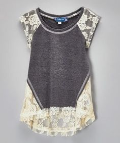 Cute dark gey with white lace t-shirt