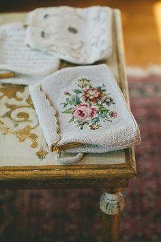 petite point purse at Xtabay Vintage Bridal