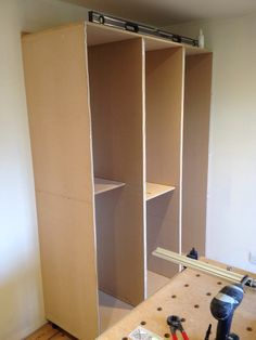 Wardrobe frame before face frames are fitted. Solid Oak Doors, Fitted Wardrobes, Face Framing, Drawers, Victorian, Flooring, Bedroom, Frame, Furniture