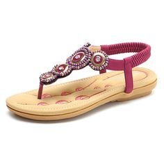 8265b6f6b8c9 SOCOFY Rhinestone Clip Toe Bohemia Elastic Flat Sandals is comfortable to  wear.