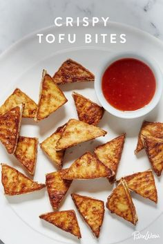 Crispy Tofu Bites. You won't believe they're not fried.