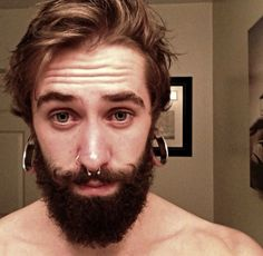 love the curl in the mustache Men's Piercings, Long Hair Beard, Stretched Lobes, Body Modifications, Hot Guys, Hot Men, Bearded Men, Beautiful Men, Curls