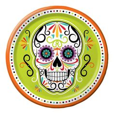 SKELEBRATION Sugar Skull DINNER Plates Halloween Birthday Table Party Supplies