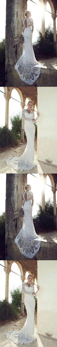 Wedding Dresses: New Long Sleeve Lace Wedding Dress Bridal Gown Custom Size 4 6 8 10 12 14 16++ -> BUY IT NOW ONLY: $139.99 on eBay!