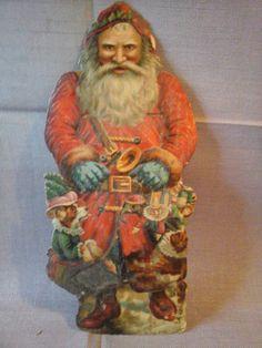 Große alte Oblate Glanzbild Weihnachtsmann geprägte Dresdner Pappe um 1890/1900