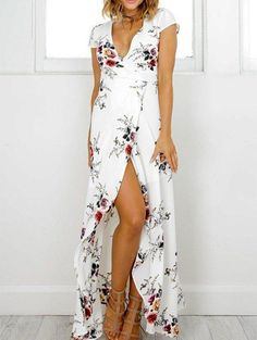 Brand Name: hotwonMaterial: Cotton,PolyesterSeason: SummerStyle: CasualDecoration: NoneSilhouette: StraightSleeve Length(cm): ShortPattern Type: PrintSleeve Style: RegularWaistline: EmpireNeckline: V-NeckDresses Length: Floor-Length For reference only, the color is based on the actual product