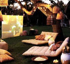 Fabulous Romantic Backyard Garden Ideas on A Budget backyard ideas Backyard Movie Nights, Outdoor Movie Nights, Outdoor Spaces, Outdoor Living, Outdoor Decor, Outdoor Fun, Fire Pit Plans, Romantic Backyard, Outdoor Cinema