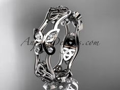 14kt white gold diamond celtic trinity knot wedding band, butterfly engagement ring CT7153BA