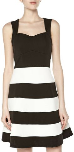bridesmaids. Romeo & Juliet Couture Striped Pique Fit-And-Flare Dress, Black/White on shopstyle.com