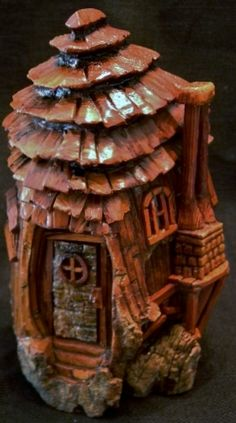 Cottonwood Bark Gnome House with Tree Bark Door.  Carved by N. Minske.