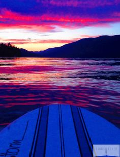 Fiery sunset on the paddleboard, Whitefish, MT