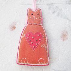 felt cat ornament