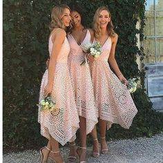 Pink Lace Unique With Straps V-Neck Simple Elegant Vintage Wedding Bridesmaid Dresses. RG212